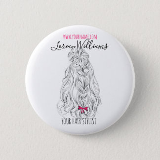 Long wavy hair with a bow  Hairstyling branding Button