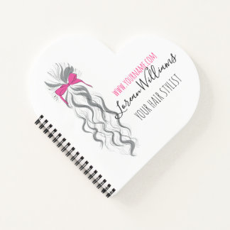 Long wavy hair with a bow  Hairstyling branding Notebook