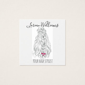 Long wavy hair with a bow  Hairstyling branding Square Business Card
