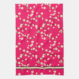 Long White Cherry Blossom Branches on Red Hand Towel