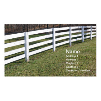 long white wooden post and rail fence business cards