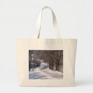 Long winters road large tote bag