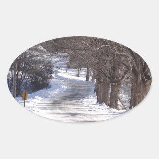 Long winters road oval sticker