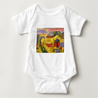 Long Yellow Horse by Franz Marc Baby Bodysuit