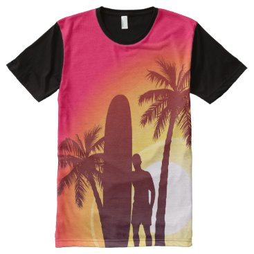 Longboard and palms All-Over-Print shirt