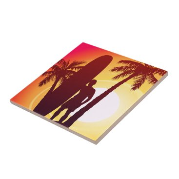 Longboard and palms ceramic tile