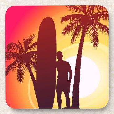 Longboard and palms drink coaster