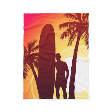 Longboard and palms fleece blanket