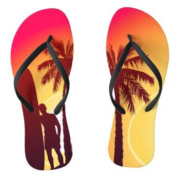 Longboard and palms flip flops