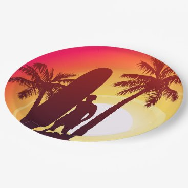 Longboard and palms paper plate