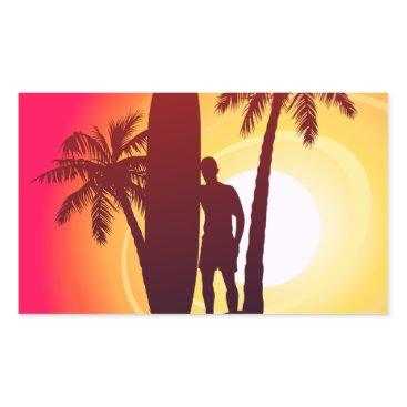 Longboard and palms rectangular sticker
