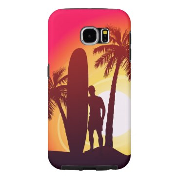 Longboard and palms samsung galaxy s6 case