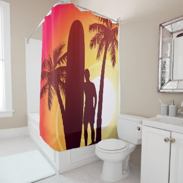 Longboard and palms shower curtain