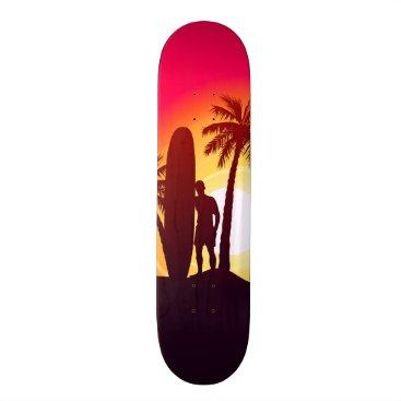 Longboard and palms skateboard deck