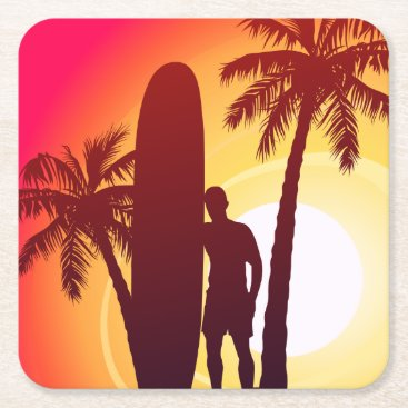 Longboard and palms square paper coaster