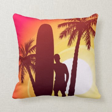 Longboard and palms throw pillow