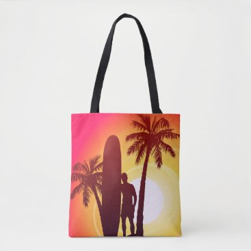 Longboard and palms tote bag