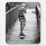Longboard Bridge Riding Mouse Pad