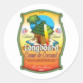 Longboard Creme de Coconut Classic Round Sticker