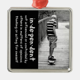Longboard Independence Square Metal Christmas Ornament