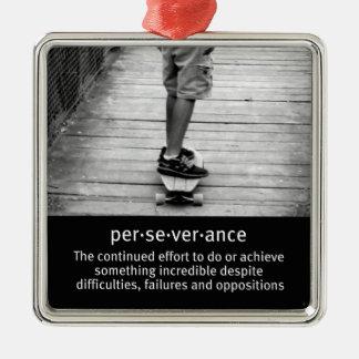 Longboard Perseverance Quote Metal Ornament