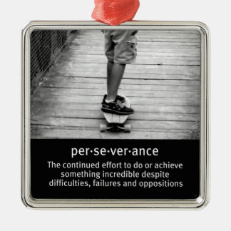 Longboard Perseverance Quote Square Metal Christmas Ornament