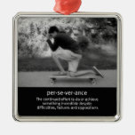 Longboard Pose and Quote Christmas Tree Ornaments
