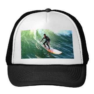longboard surfer drops with wave trucker hat