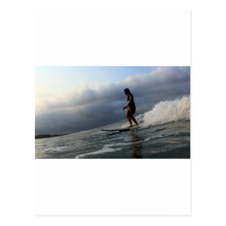 Longboard surfing tropical waves postcard