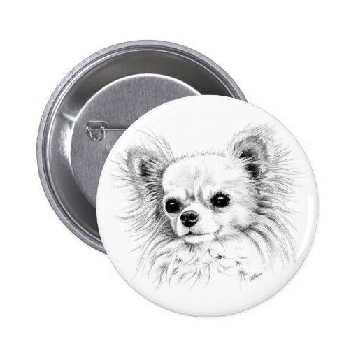 Longcoat chihuahua 2 inch round button