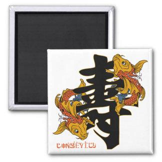Longevidad de los pescados de Koi del kanji Imán Cuadrado