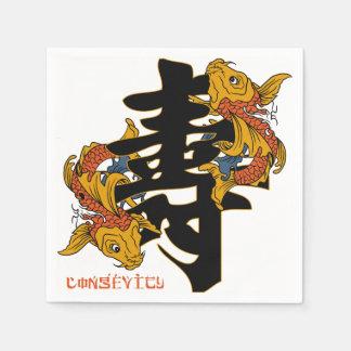 Longevidad de los pescados de Koi del kanji Servilleta De Papel