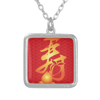 Longevity Shou Peach on Fish Scale Background Silver Plated Necklace