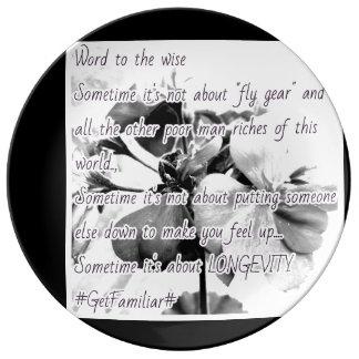 LONGEVITY WORDS TO GROW ON by MandyMonumental Porcelain Plate
