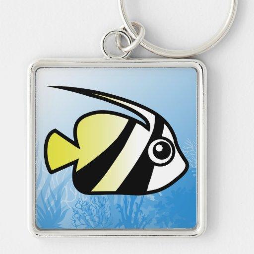 Longfin Bannerfish Llavero Cuadrado Plateado