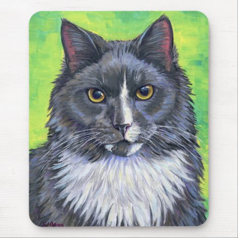 Longhair Gray and White Cat Mouse Pad