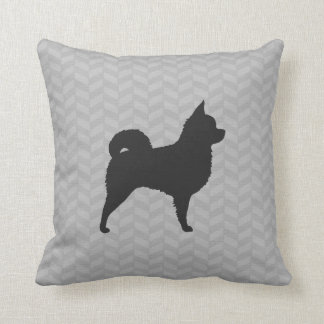 Longhaired Chihuahua Silhouette Throw Pillow