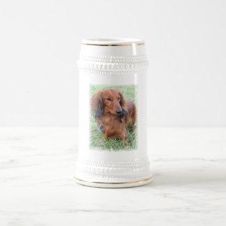 Longhaired Dachshund Beer Stein