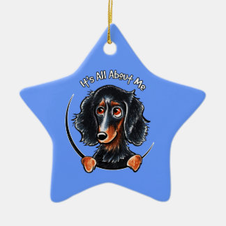 Longhaired Dachshund Black Tan IAAM Ceramic Ornament
