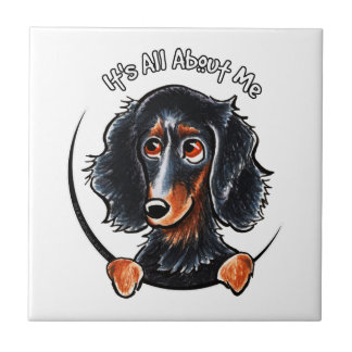 Longhaired Dachshund Black Tan IAAM Small Square Tile