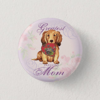 Longhaired Dachshund Heart Mom Pinback Button