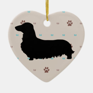 Longhaired Dachshund Christmas Tree Ornaments