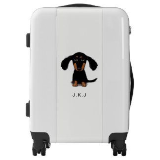 Longhaired Dachshund Puppy with Custom Text Luggage