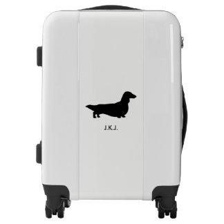 Longhaired Dachshund Silhouette Personalized Luggage