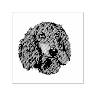 """Longhaired Dachshund - sq. 1.5"""" [image only] Self-inking Stamp"""