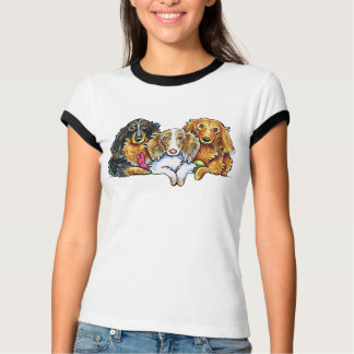 Longhaired Dachshund Trio Tee Shirts