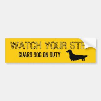 Longhaired Dachshund Watch Your Step Car Bumper Sticker