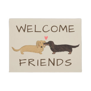 Dachshund Long Hair Wood Welcome Outdoor Sign Black /& Tan