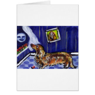 longhaired dachsund senses smiling moon greeting card