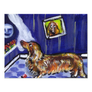 "longhaired dachsund senses smiling moon 4.25"" x 5.5"" invitation card"